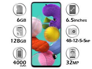 گوشی سامسونگ Galaxy A51 گنجایش 128GB مشکی 6GB ویتنام