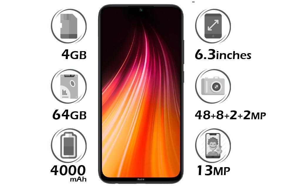 گوشی شیائومی Redmi Note 8 گنجایش 64GB با 4 گیگابایت رم مشکی