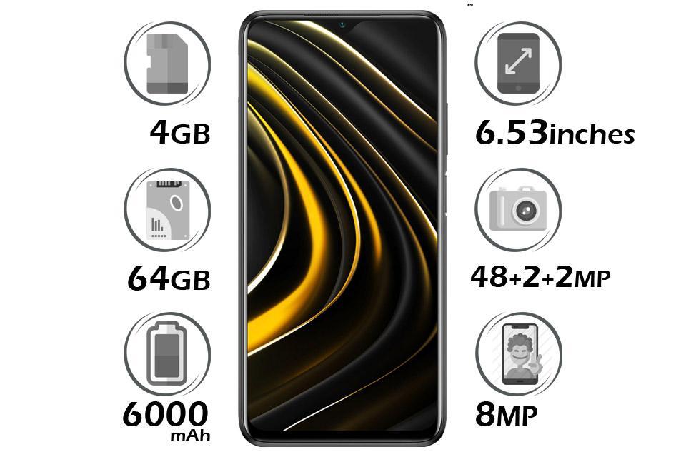 گوشی شیائومی Poco M3 حافظه 64GB با 4 گیگابایت رم