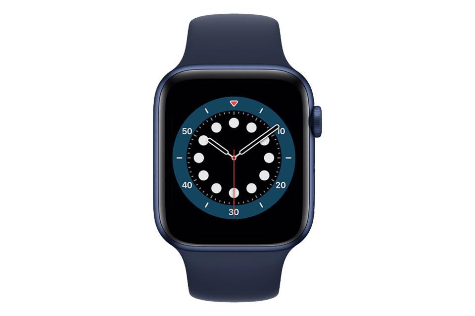ساعت هوشمند اپل واچ سری ۶ آلومینیوم آبی با بند اسپرت سیلیکونی آبی 40 میلی متر