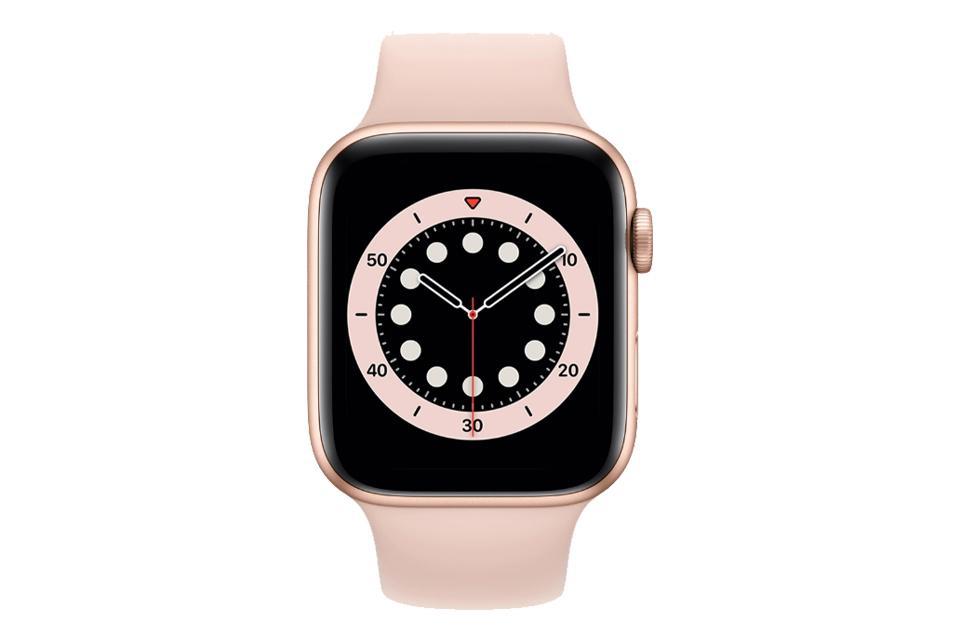 ساعت هوشمند اپل واچ سری ۶ آلومینیوم طلایی با بند اسپرت سیلیکونی صورتی 40 میلی متر