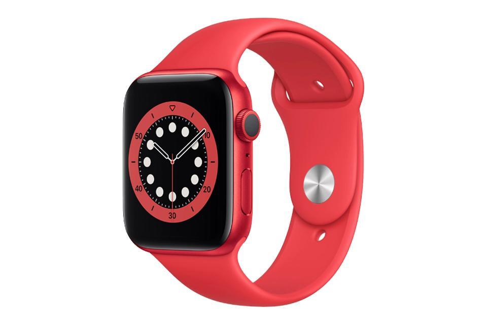 ساعت هوشمند اپل واچ سری ۶ آلومینیوم قرمز با بند اسپرت سیلیکونی قرمز 40 میلی متر