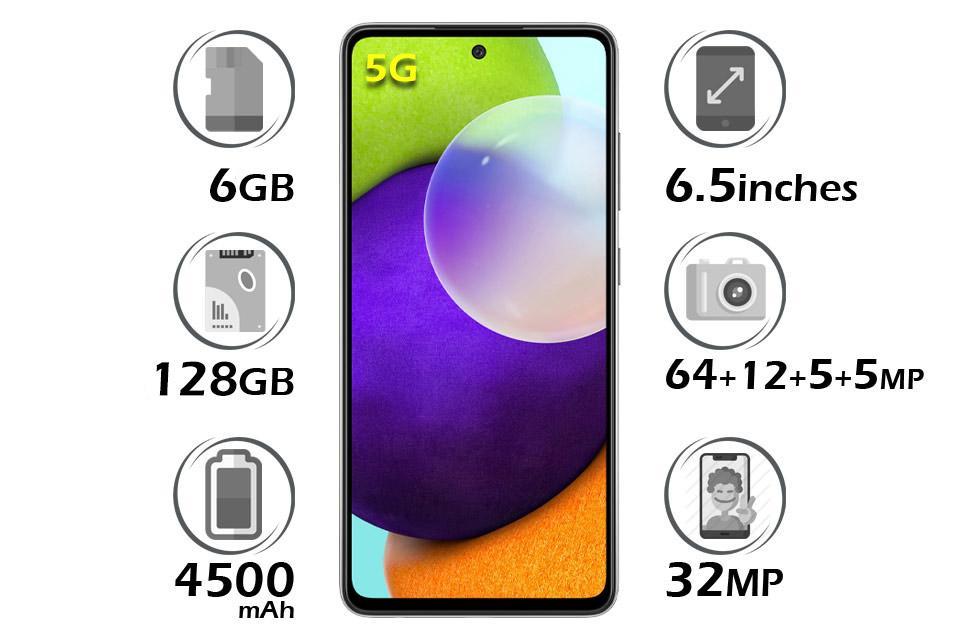 گوشی سامسونگ گلکسی A52 5G حافظه 128GB رم 6GB