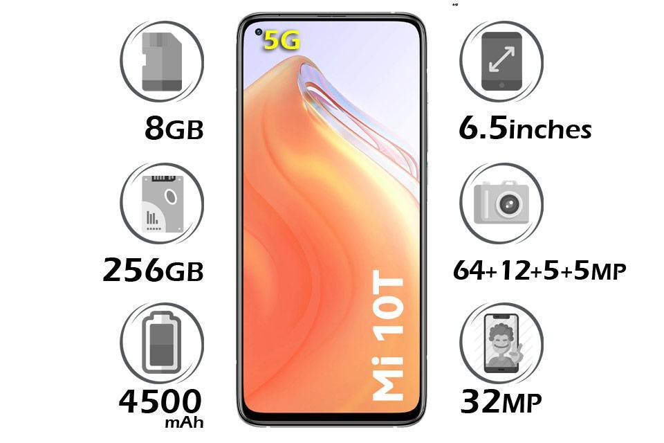 گوشی شیائومی Mi 10T 5G حافظه 256128رم 8GB نقره ای