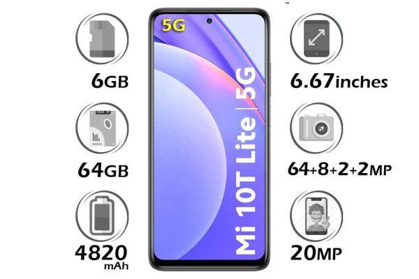 گوشی شیائومی Mi 10T Lite 5G حافظه 64 گیگابایت رم 6 گیگابایت