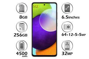 گوشی سامسونگ A52 5G حافظه 256 گیگابایت رم 8 گیگابایت